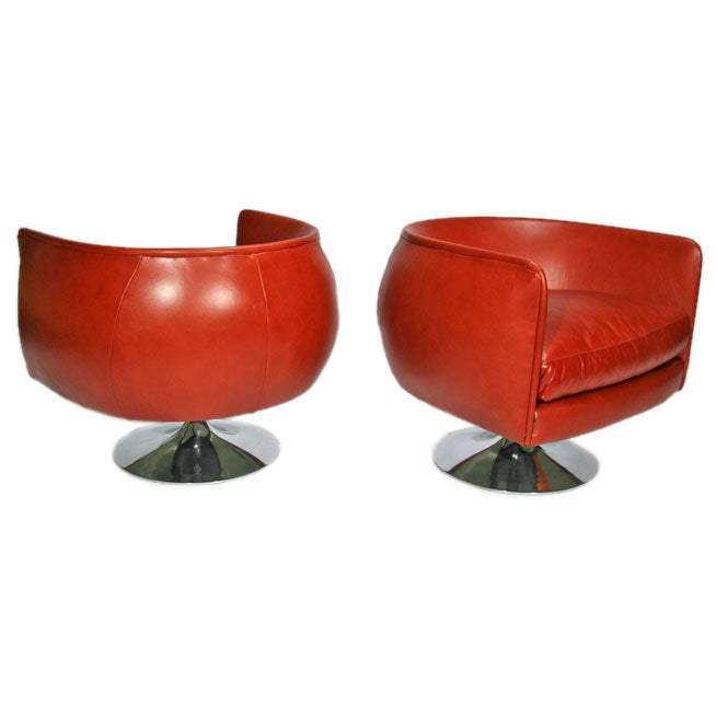 Pair Of Tulip Base Lounge Chairs By Craft Associates At