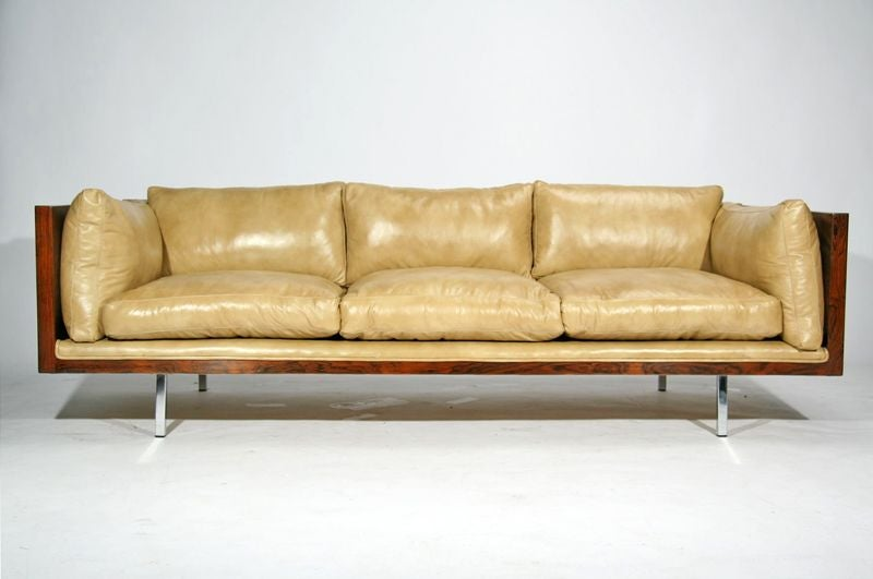Rosewood case sofa by Milo Baughman in tan leather image 2