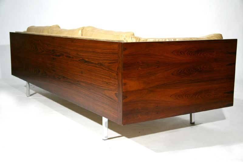 Rosewood case sofa by Milo Baughman in tan leather image 5