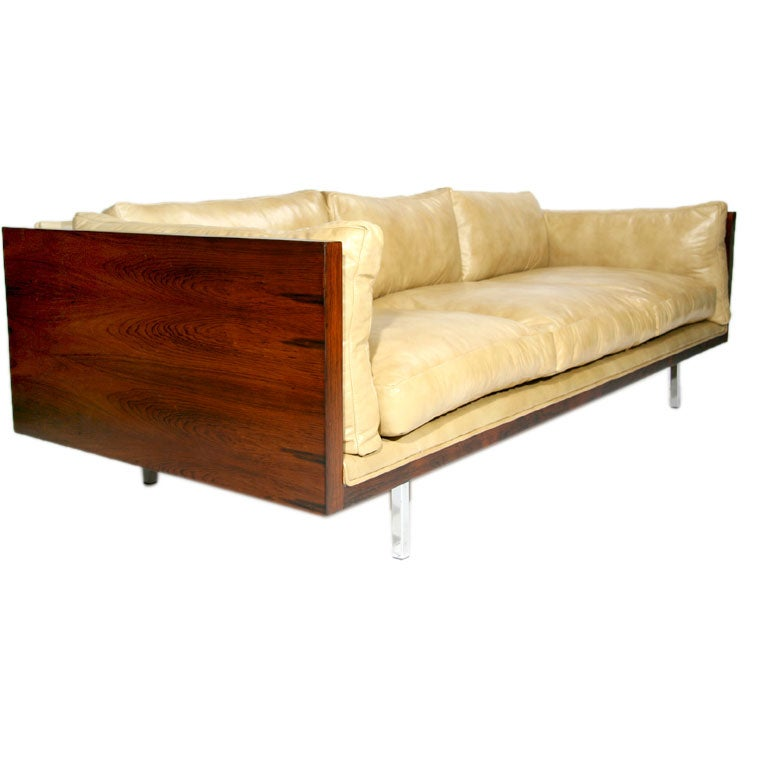 Rosewood Case Sofa By Milo Baughman In Tan Leather At 1stdibs