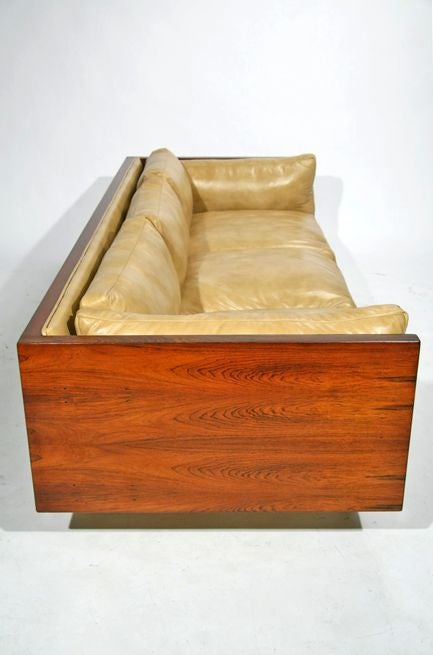 Rosewood case sofa by Milo Baughman in tan leather image 4