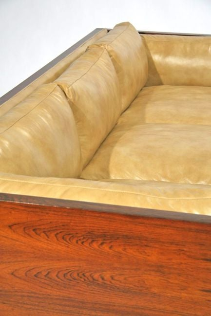 Rosewood case sofa by Milo Baughman in tan leather image 6