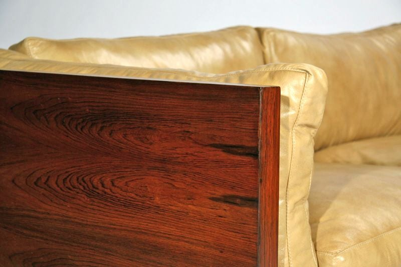 Rosewood case sofa by Milo Baughman in tan leather image 9