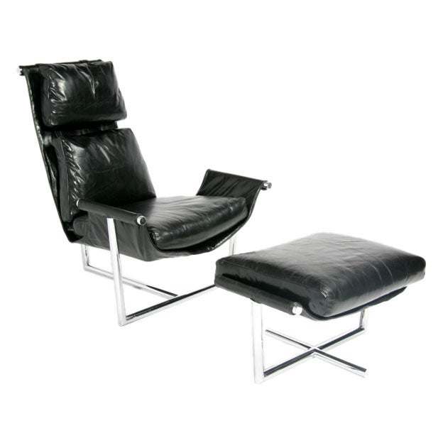 leather sling chair and ottoman by metropolitan at 1stdibs