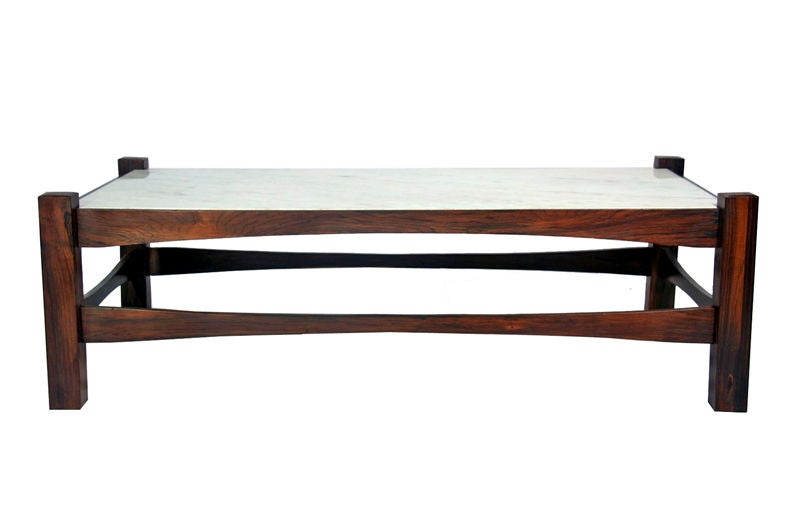 solid rosewood coffee table with inset marble top at 1stdibs. Black Bedroom Furniture Sets. Home Design Ideas