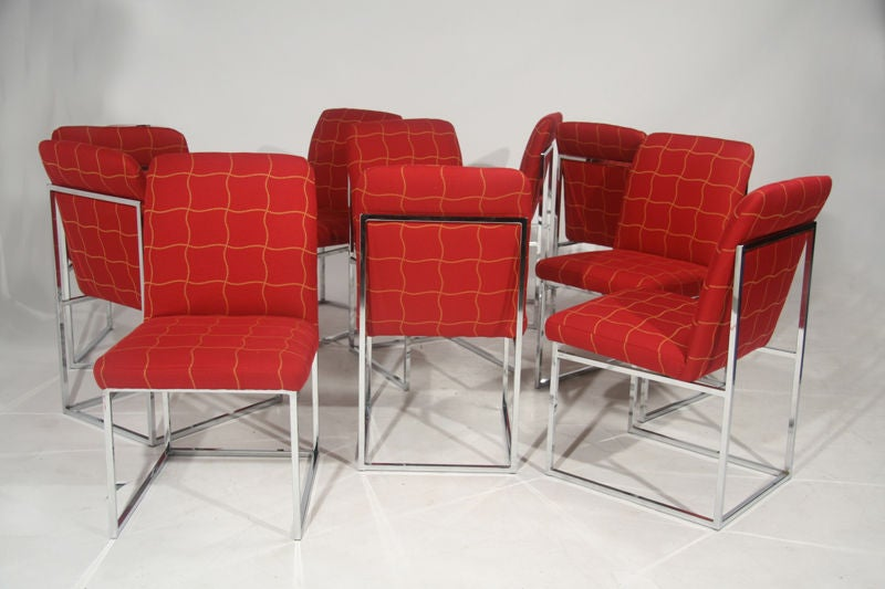 set of ten chrome frame dining chairs by milo baughman at 1stdibs