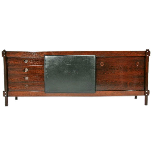 Rosewood Cabinet with Leather Sliding Door by Sergio