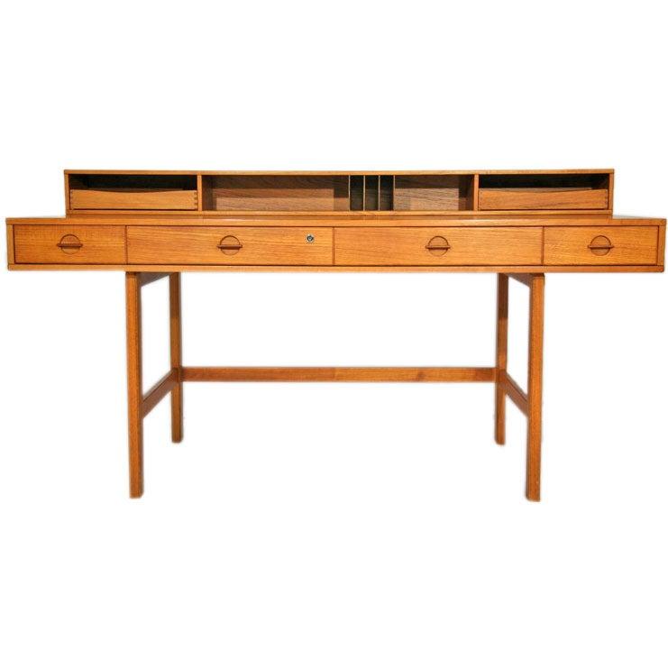 Teak Flip Top Desk By Lovig At 1stdibs