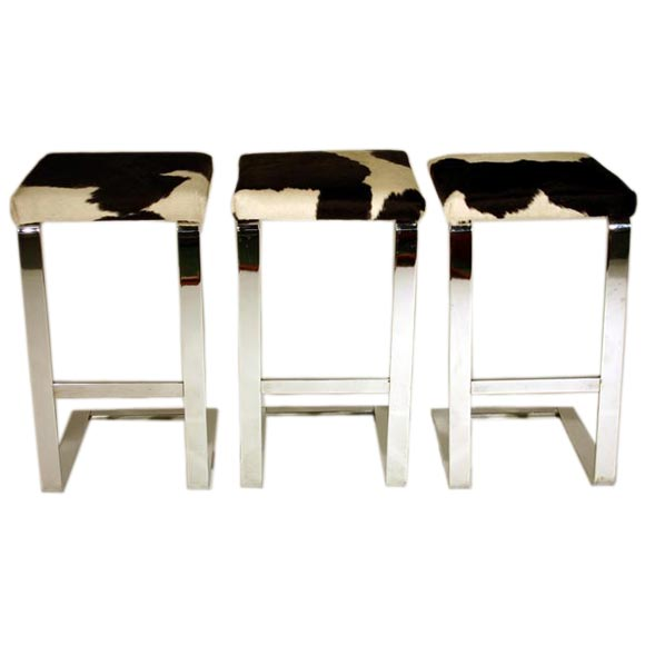 Set of three bar stools in chrome steel with cowhide seats  : chromecowhidebarstools1 from 1stdibs.com size 580 x 580 jpeg 19kB