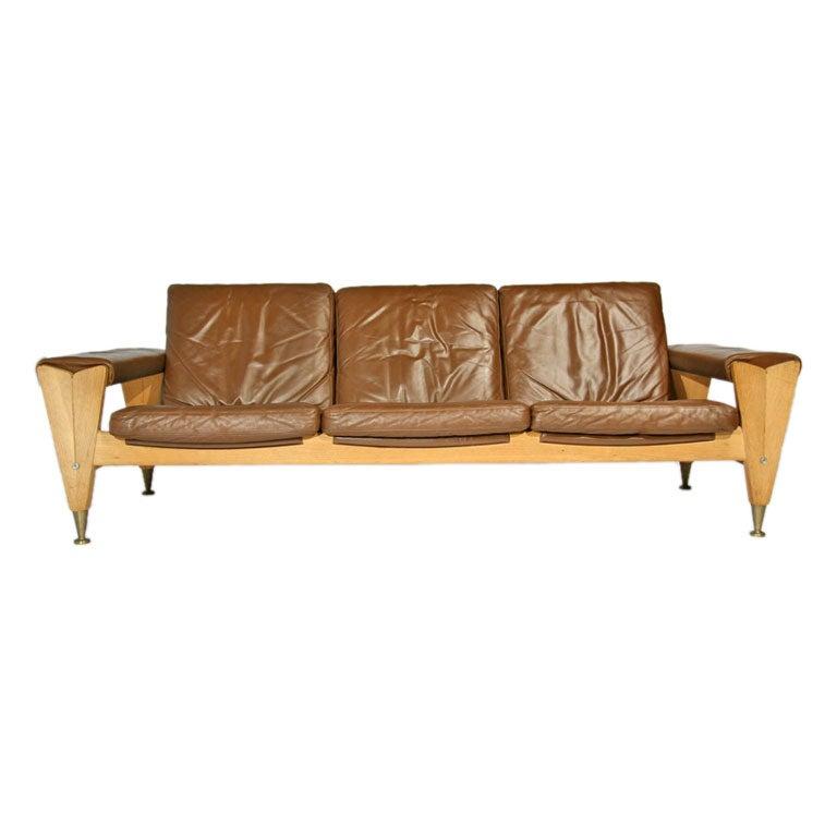 Wide Oak Frame And Leather Sofa By Hans J Wegner At 1stdibs