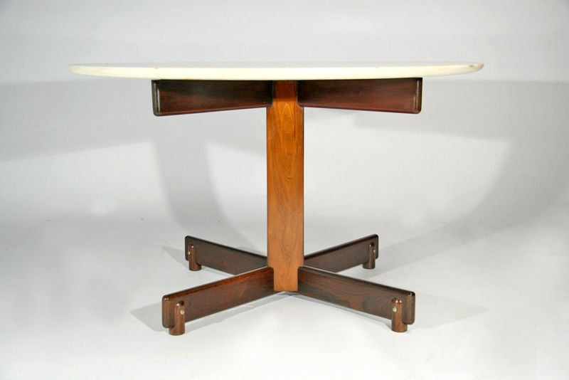 Round Marble And Rosewood Dining Table By Sergio Rodrigues At 1stdibs
