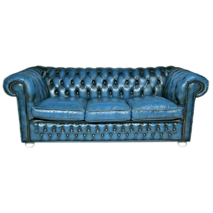 blue leather chesterfield sofa at 1stdibs. Black Bedroom Furniture Sets. Home Design Ideas