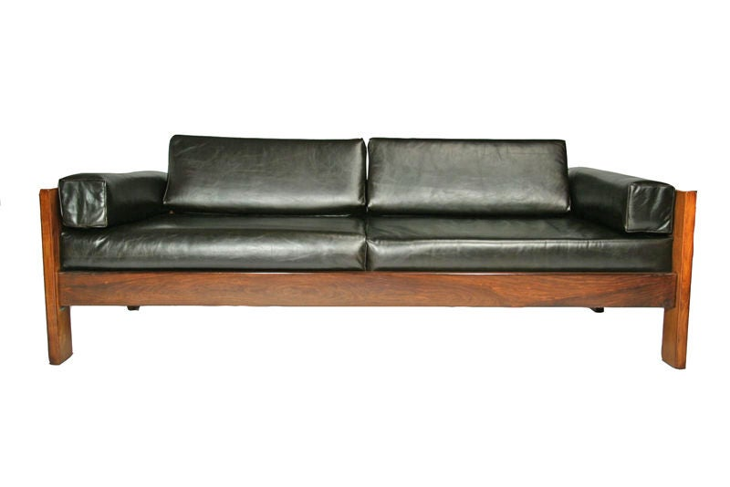 Wood Frame Sofa : Solid caviuna wood frame leather sofa at 1stdibs