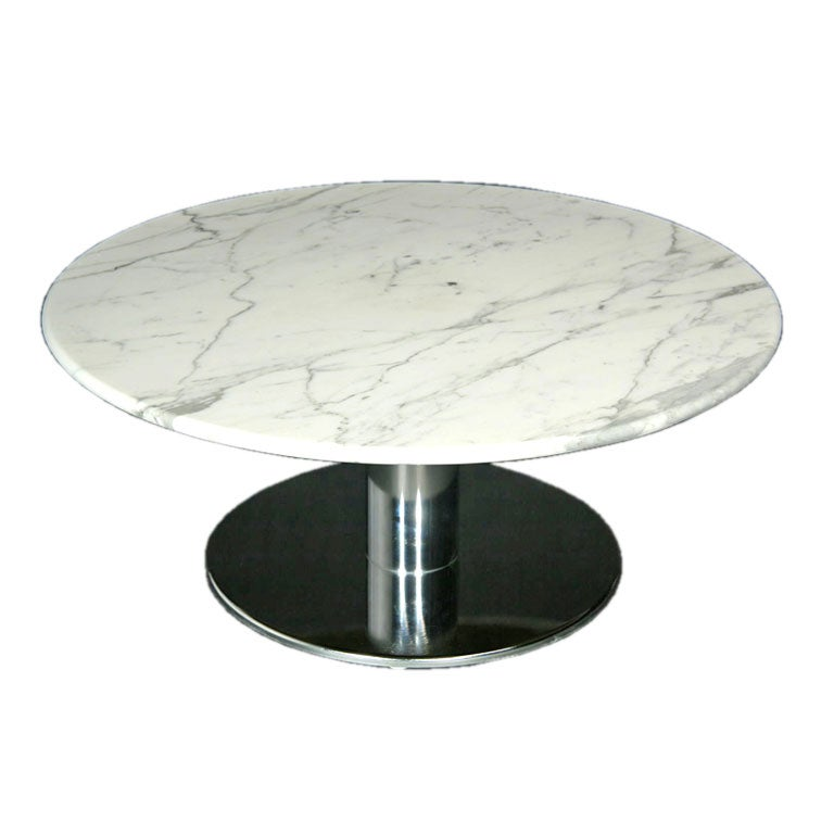 Round Marble And Chrome Base Coffee Table At 1stdibs