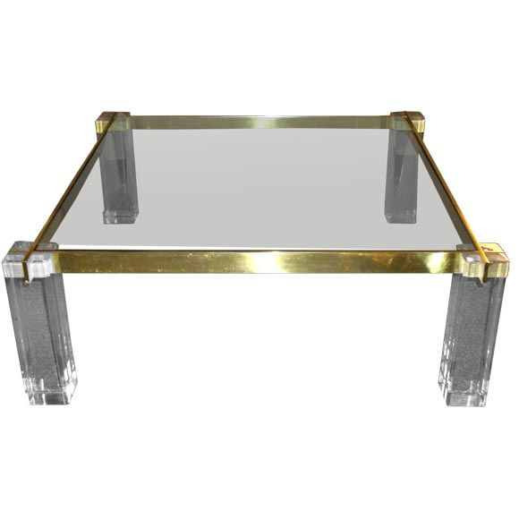 42 Square Lucite And Glass Coffee Table At 1stdibs
