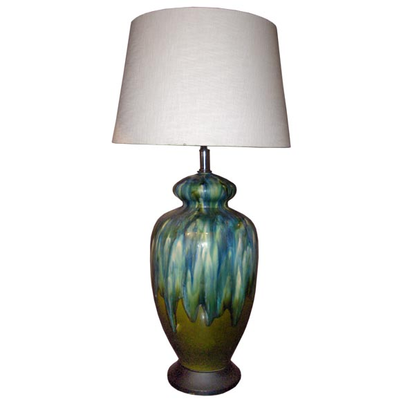 Large Glazed Table Lamp; Fulper Style For Sale