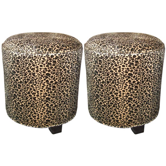 Pair Of Custom Leopard Print Ottomans By Irwin Feld At 1stdibs