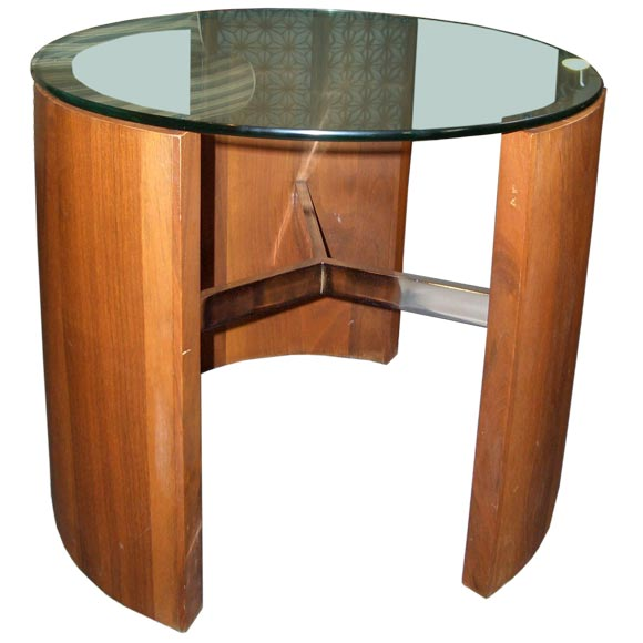 Chrome And Wood End Table ~ Glasstable g