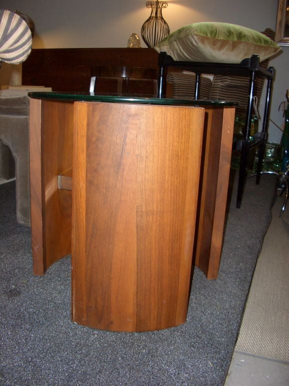 Chrome And Wood End Table ~ Modern wood chrome and glass side table at stdibs