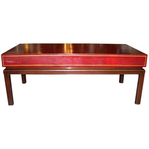 Embossed Leather Top Coffee Table At 1stdibs