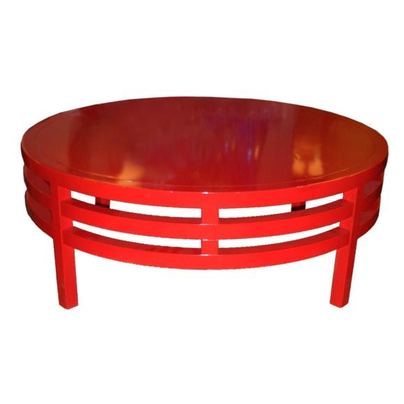 Modern chinese red coffee table at 1stdibs for Red modern coffee table