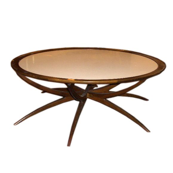 Coffee Table Leg Broken: White Glass And Walnut Spider Leg Table At 1stdibs