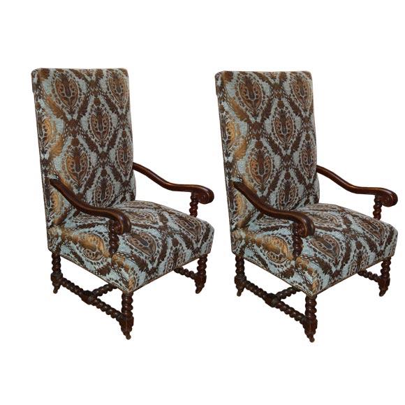 Pair Of English Barley Twist Highback Chairs At 1stdibs