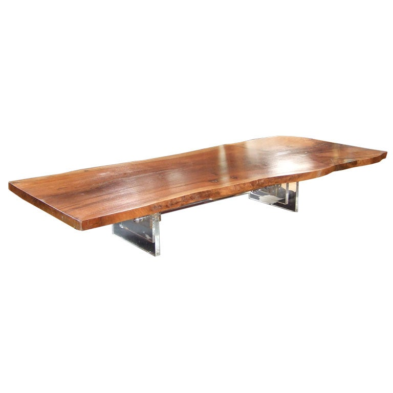 84 Black Walnut And Lucite Coffee Table At 1stdibs