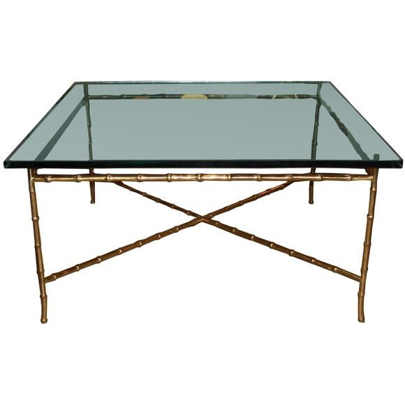 Faux Brass Bamboo Coffee Table In The Style Of Jansen At 1stdibs