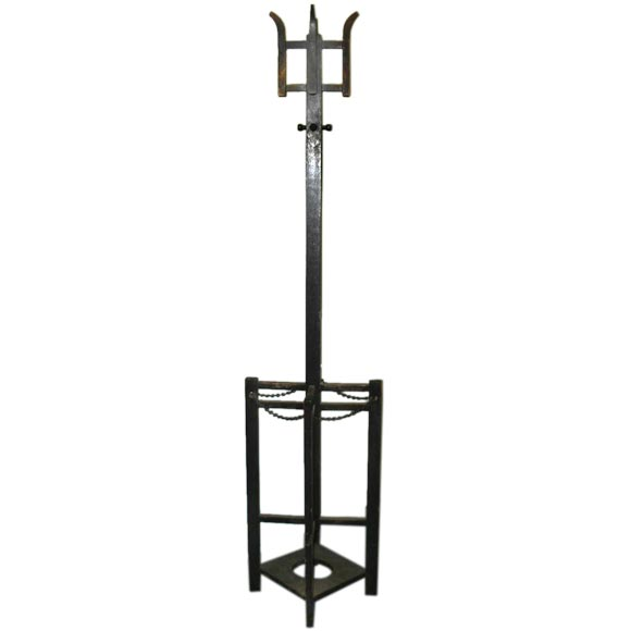 A Mission Style Combined Coat Rack And Umbrella Stand For
