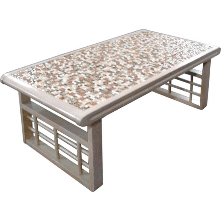 White Coffee Table With Tile Mosaic Surface At 1stdibs