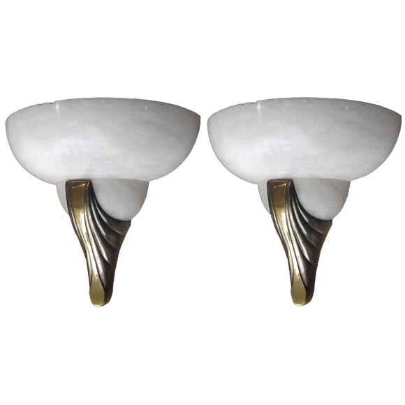 Pair of Art Deco Alabaster and Gilt Bronze Sconces / Wall Lights at 1stdibs
