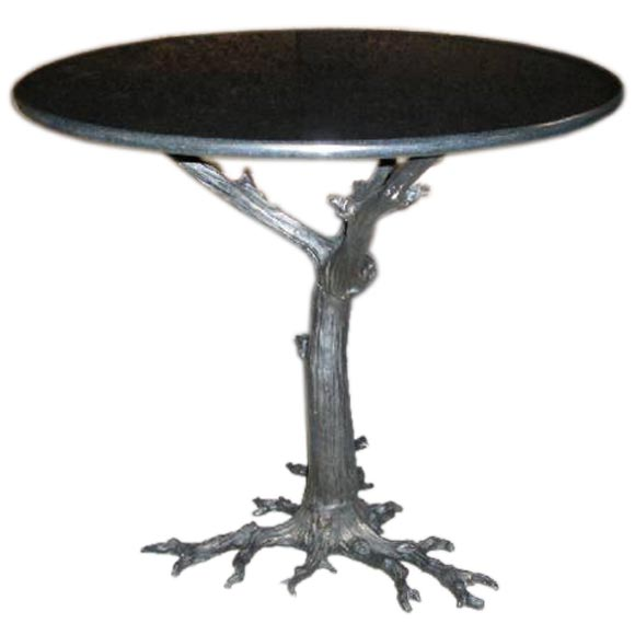 granite top table with metal gnarled tree root base at 1stdibs