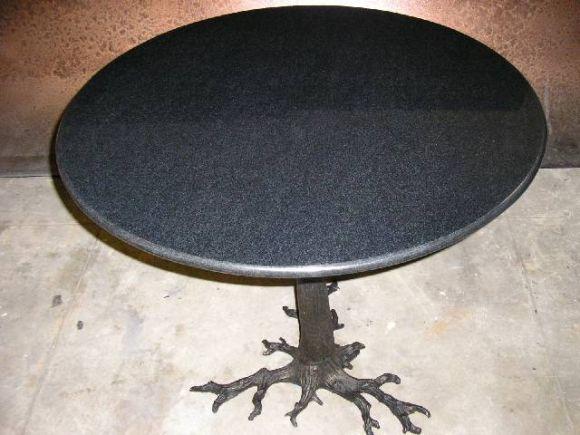 granite top table with metal gnarled tree root base at 1stdibs