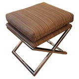 Milo Baughman X-Base Stool Upholstered in Horsehair