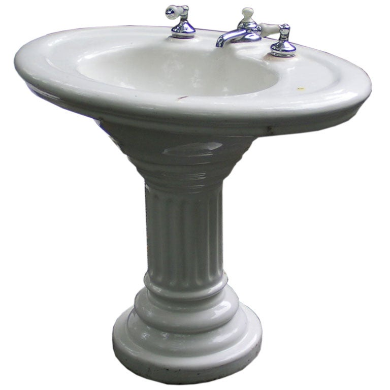 A Vintage Porcelain Pedestal Sink With Original Taps 1
