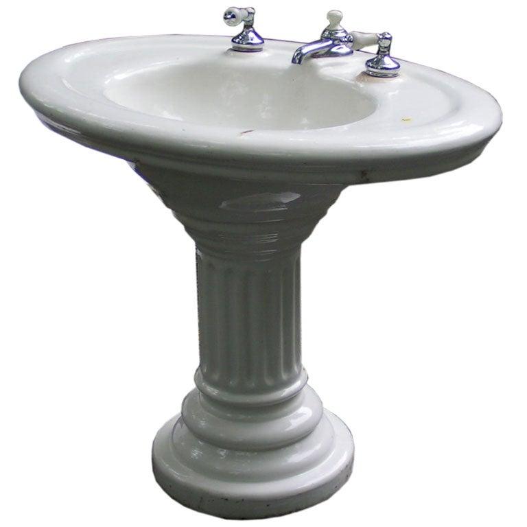 Vintage Porcelain Pedestal Sink with Original Taps at 1stdibs