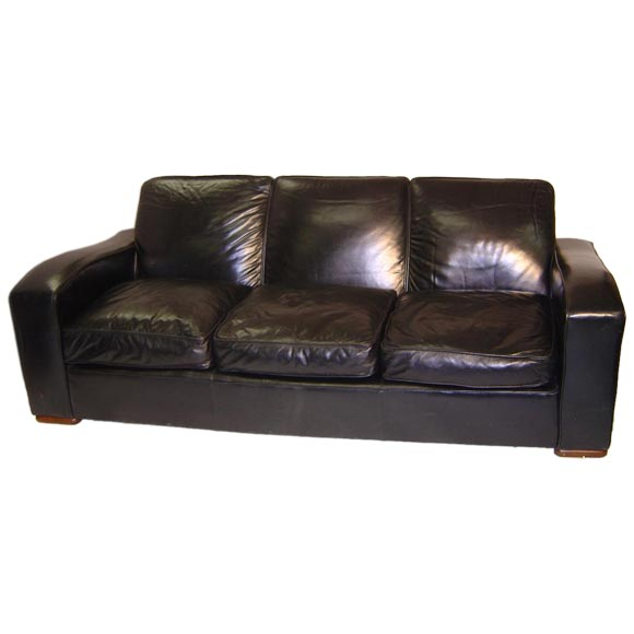 An art deco style black leather sofa at 1stdibs for Art deco style sofa