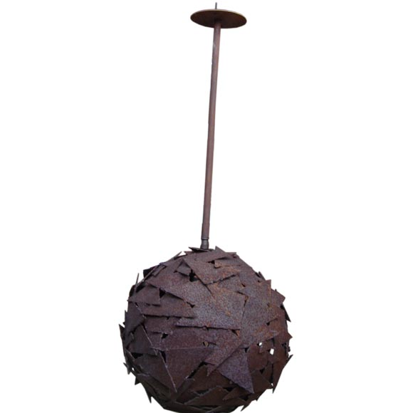 Large Brutalist Modern Metal Ball Form Hanging Light 1