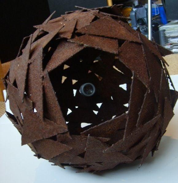 Large Brutalist Modern Metal Ball Form Hanging Light For Sale 1