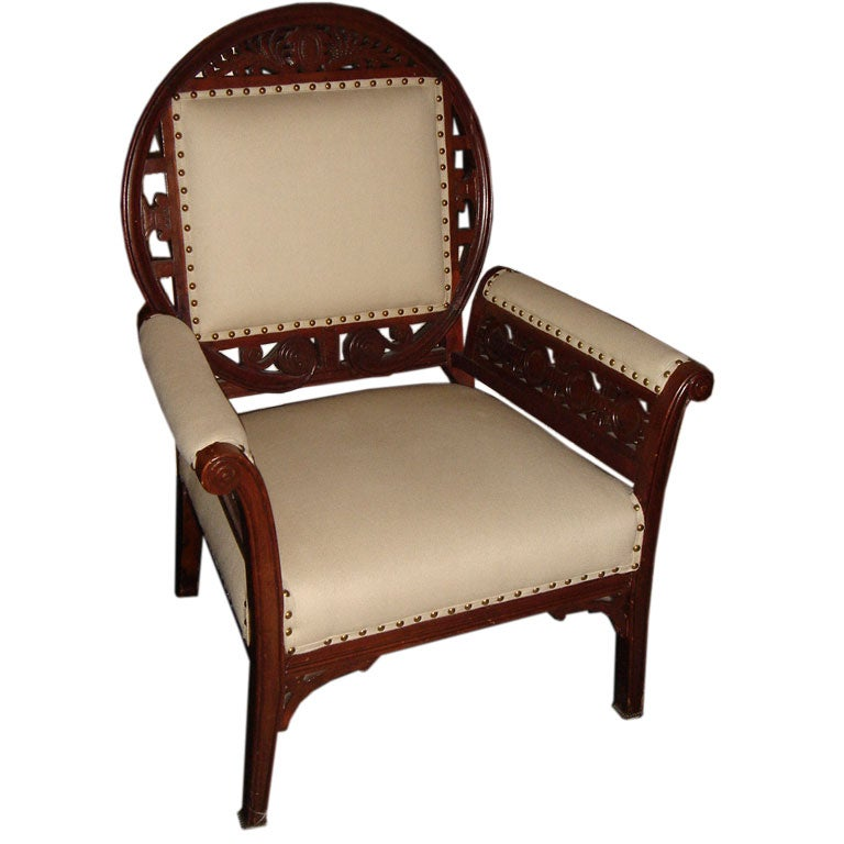 Unusual Aesthetic Period Arm Chair Style Of Herter
