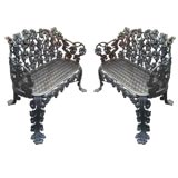 A Pair of Wrought Iron Benches