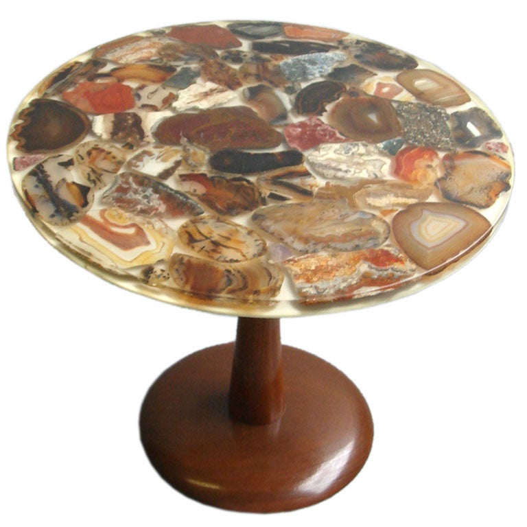 An Unusual Agate Inlaid Side Table At 1stdibs