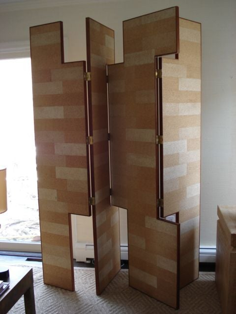 Pair of Modernist Cork Screens after Eileen Gray For Sale 3