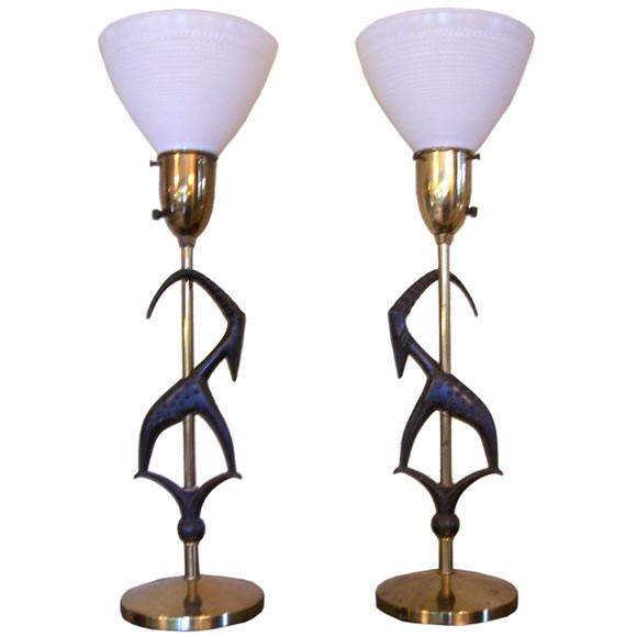 Pair of Antelope Lamps by Rembrandt with Original Vintage Shades