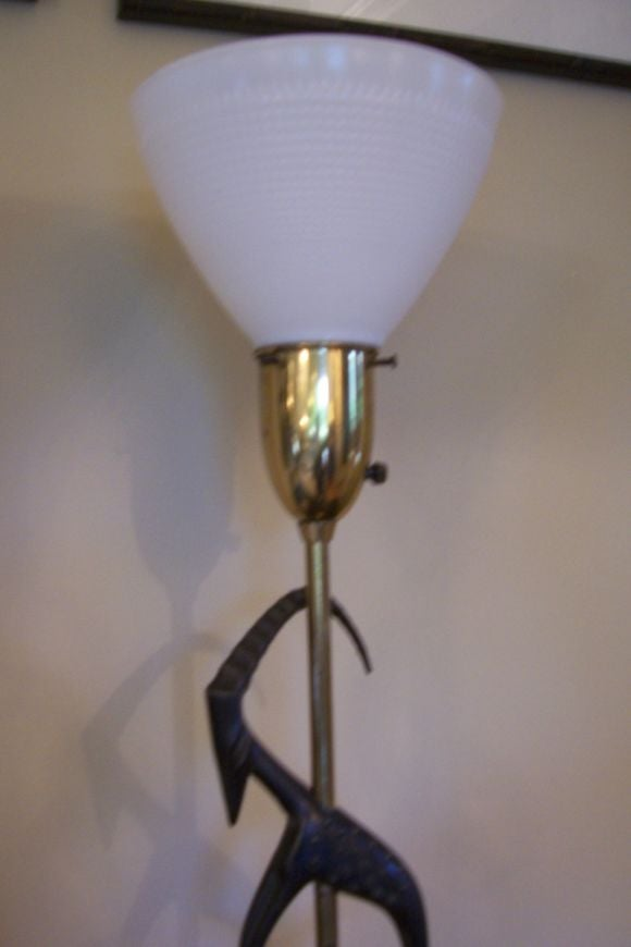 Mid-Century Modern Pair of Antelope Lamps by Rembrandt with Original Vintage Shades For Sale