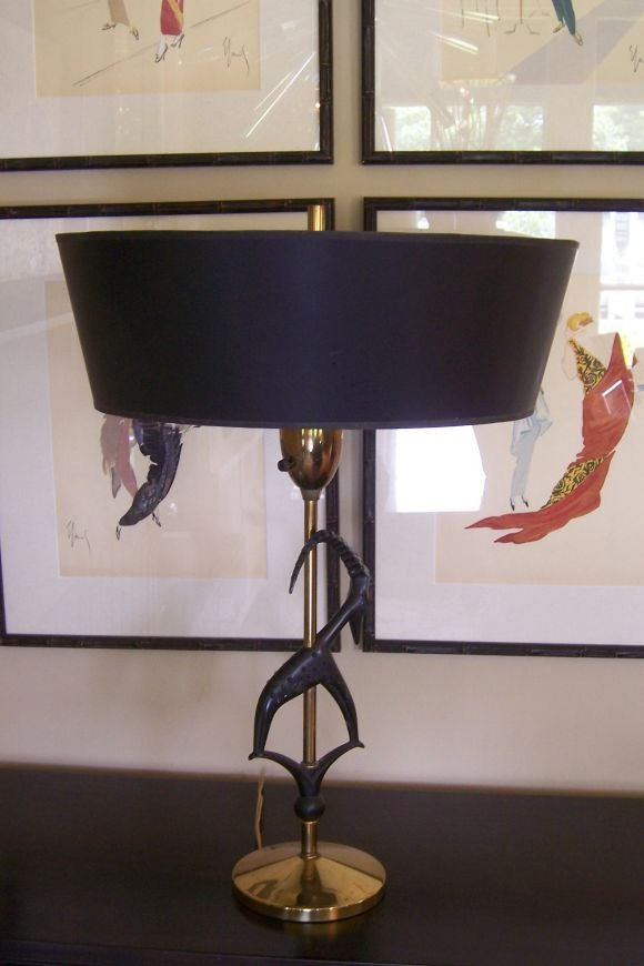 Pair of Antelope Lamps by Rembrandt with Original Vintage Shades In Good Condition For Sale In East Hampton, NY