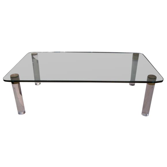 A Rectangular Lucite Glass And Bronze Cocktail Table At 1stdibs