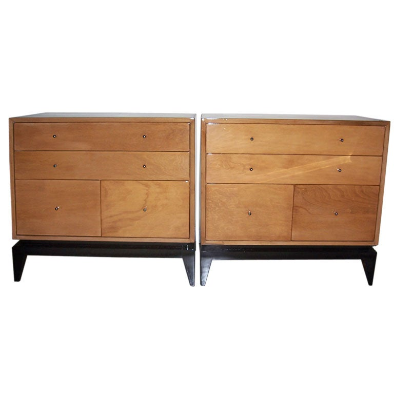 Pair Of Blond Wood Dressers At 1stdibs