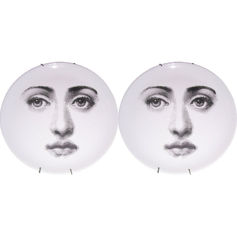 A Pair Of Fornasetti Face Plates At 1stdibs